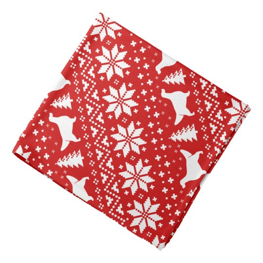 English Setter Silhouettes Christmas Pattern Red Kerchiefs