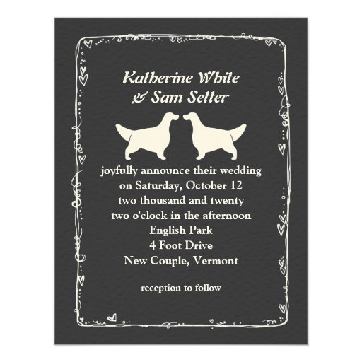 English Setter Silhouettes Wedding Custom Announcements
