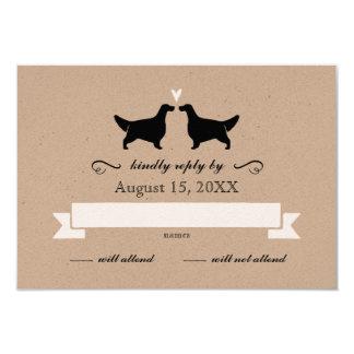 English Setter Silhouettes Wedding RSVP Reply 9 Cm X 13 Cm Invitation Card
