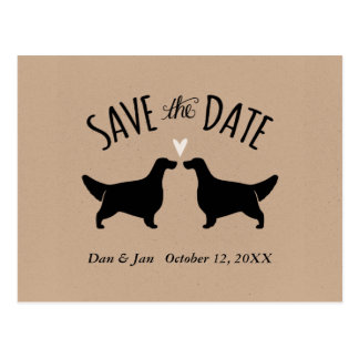 English Setter Silhouettes Wedding Save the Date Postcard