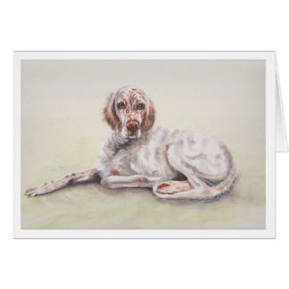 English Setter Watercolor Painting Card