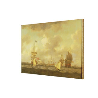 English Ships Coming to Anchor in a Fresh Breeze ( Canvas Print