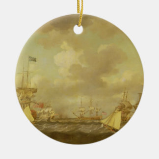 English Ships Coming to Anchor in a Fresh Breeze ( Round Ceramic Decoration