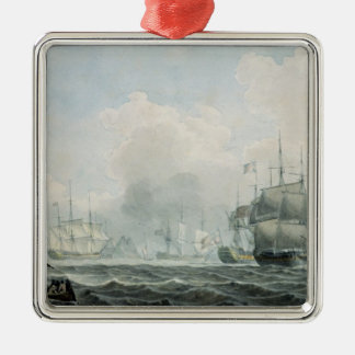 English Ships of War Silver-Colored Square Decoration