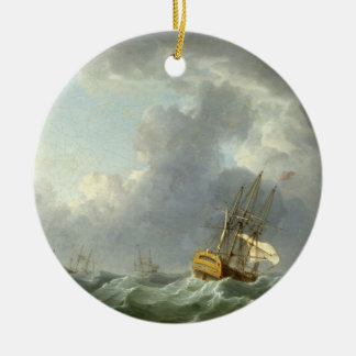 English Ships Running Before a Gale (oil on canvas Round Ceramic Decoration