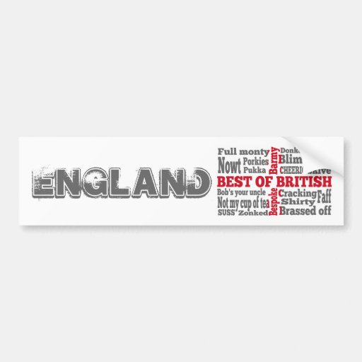 English slang on the St George's Cross flag Bumper Sticker