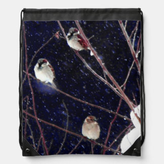 English Sparrow Bird Family in Snowy Winter Storm Backpacks