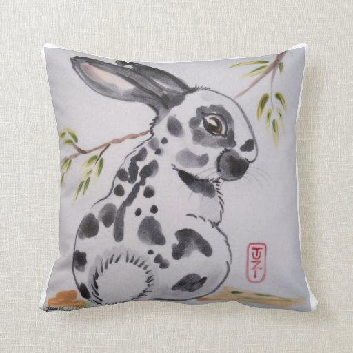 English Spot Bunny Rabbit Pillow, Oriental Design
