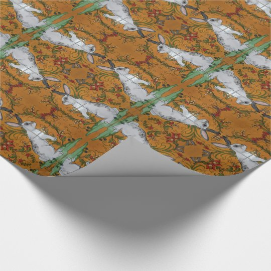 English Spot Rabbit Floral Folk Art Wrapping Paper