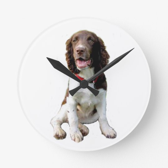English Springer - Liver-White (pup) Round Clock
