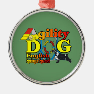 English Springer Spaniel Agility Silver-Colored Round Decoration