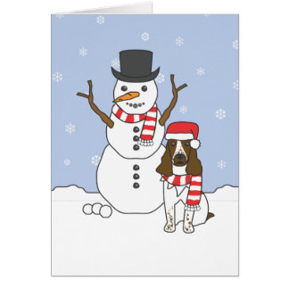 English Springer Spaniel and Snowman Greeting Card
