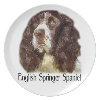 English Springer Spaniel Art Party Plate