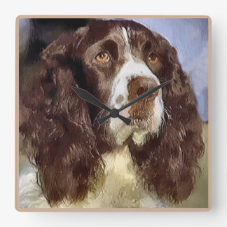 English Springer Spaniel Art Square Wall Clock