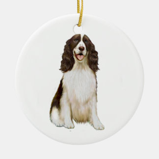 English Springer Spaniel (B) - Liver and White Round Ceramic Decoration