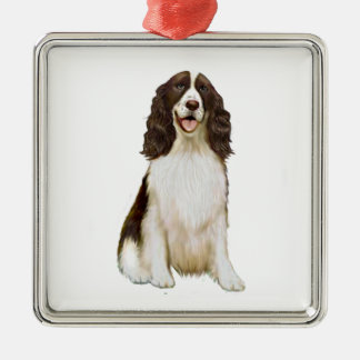 English Springer Spaniel (B) - Liver and White Silver-Colored Square Decoration
