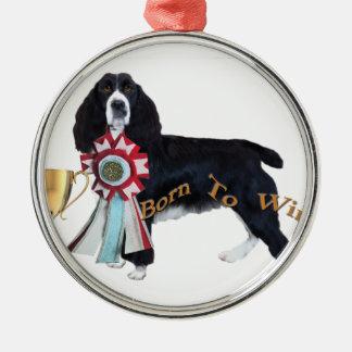 English Springer Spaniel Born To Win Silver-Colored Round Decoration