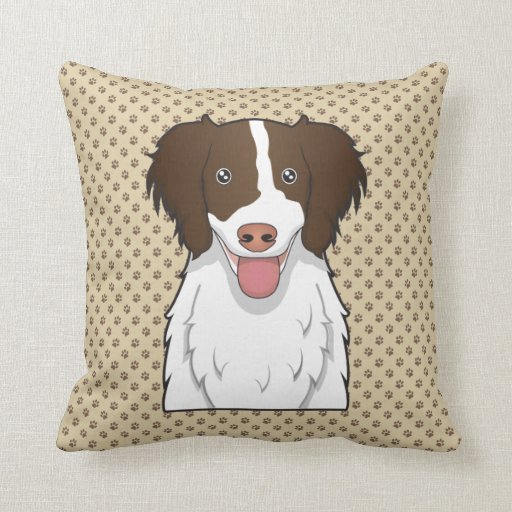 English Springer Spaniel Cartoon Throw Pillows