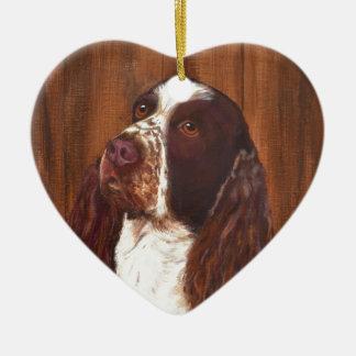 English Springer Spaniel Ceramic Heart Decoration