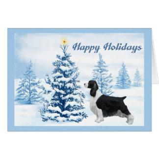 English Springer Spaniel Christmas Card Blue Tree