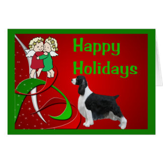 English Springer Spaniel Christmas Card Little Ang