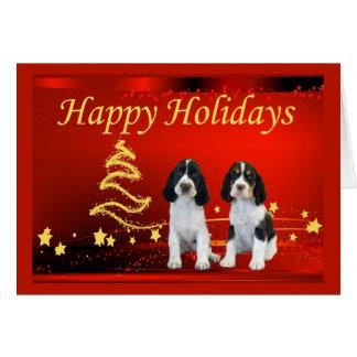 English Springer Spaniel Christmas Card Stars