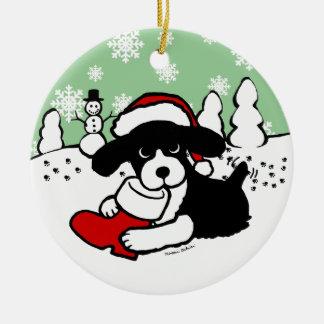English Springer Spaniel Christmas Cartoon Round Ceramic Decoration