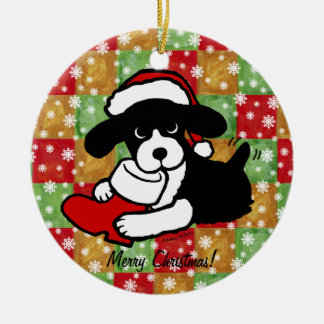 English Springer Spaniel Christmas Cartoon Round Ceramic Decoration