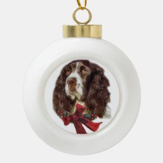 English Springer Spaniel Christmas Ceramic Ball Decoration