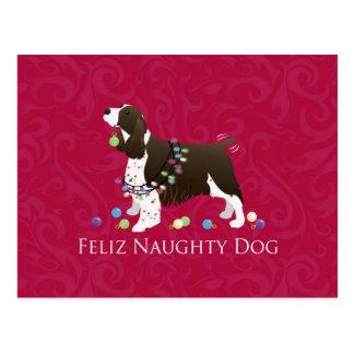 English Springer Spaniel Christmas Design Postcard