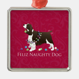 English Springer Spaniel Christmas Design Silver-Colored Square Decoration