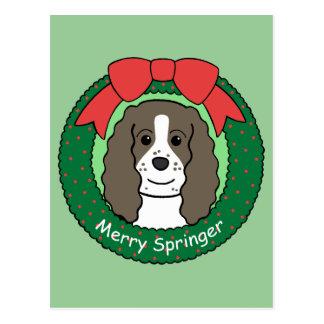 English Springer Spaniel Christmas Postcard