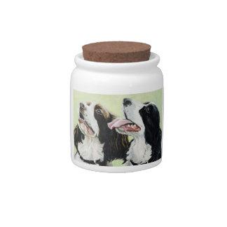 English Springer Spaniel Dog Art Treat Jar Candy Dish