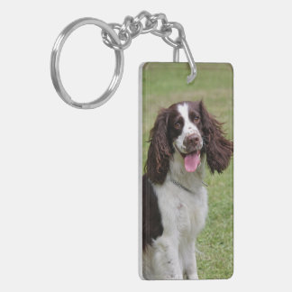 English Springer Spaniel dog beautiful photo, gift Double-Sided Rectangular Acrylic Key Ring