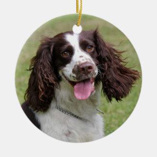 English Springer Spaniel dog beautiful photo, gift Round Ceramic Decoration
