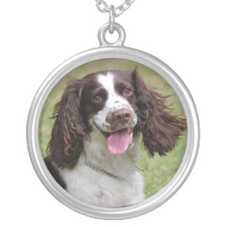 English Springer Spaniel dog beautiful photo, gift Silver Plated Necklace
