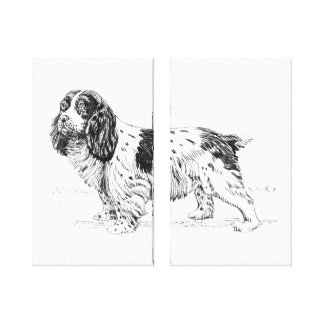 English Springer Spaniel Dog Breed Drawing Diptych Gallery Wrap Canvas