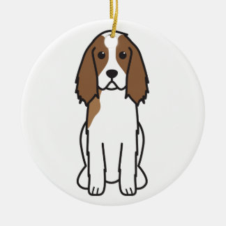 English Springer Spaniel Dog Cartoon Double-Sided Ceramic Round Christmas Ornament