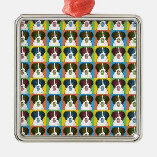 English Springer Spaniel Dog Cartoon Pop-Art Silver-Colored Square Decoration