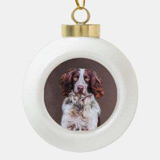 English Springer Spaniel Dog Oil Painting Portrait Ceramic Ball Christmas Ornament