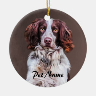 English Springer Spaniel Dog Oil Painting Portrait Round Ceramic Decoration
