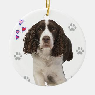 English Springer Spaniel Dog Round Ceramic Decoration