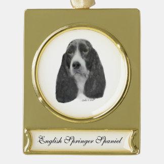 English Springer Spaniel Gold Plated Banner Ornament