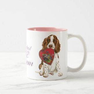 English Springer Spaniel Heart Mom Two-Tone Mug