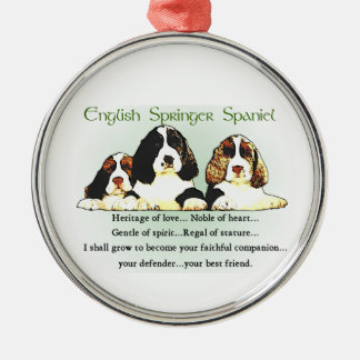 English Springer Spaniel Heritage of Love Silver-Colored Round Decoration