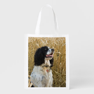 english springer spaniel in wheat.png reusable grocery bag