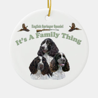 English Springer Spaniel It's A Family Thing Round Ceramic Decoration