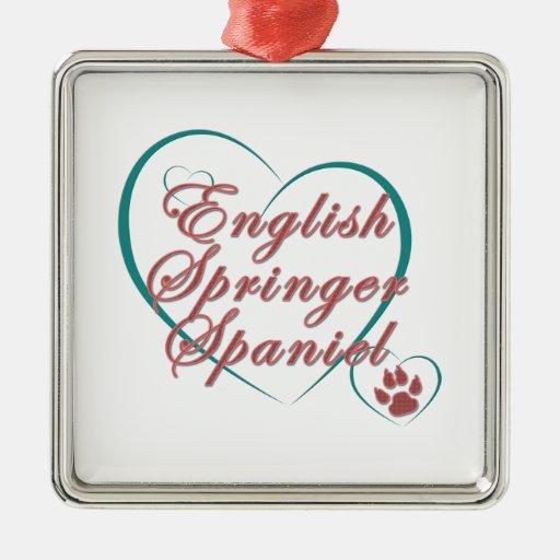 English Springer Spaniel Love Christmas Tree Ornaments