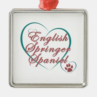 English Springer Spaniel Love Silver-Colored Square Decoration