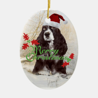 English Springer Spaniel Merry Christmas Ceramic Oval Decoration